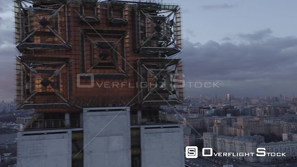 Closer Reveal Fly by Russian Academy of Science With Moscow Cityscape. Moscow Russia Drone Video View