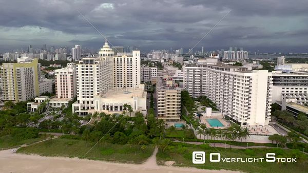 Aerial reveal hotels Miami Beach FL