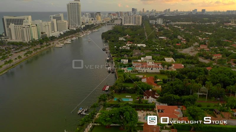 Upscale neighborhoods Miami aerial 4k drone video