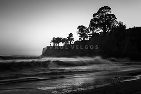 Capitola Hooper Beach Black and White Photo