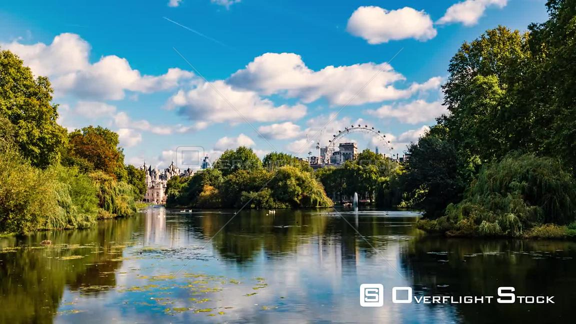 Timelapse view of St James park in central London