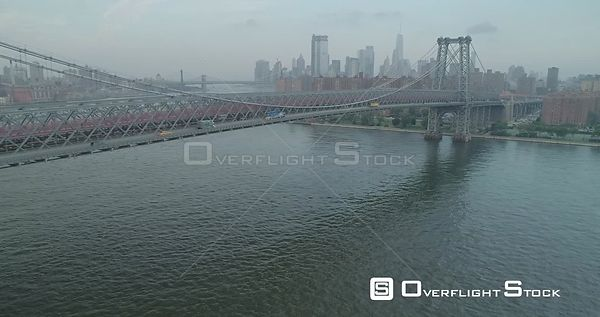 Aerial View of Williamsburg Bridge NYC New York City
