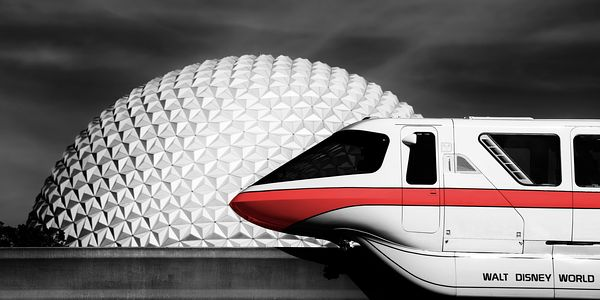 Monorail Red and Spaceship Earth | Selective Color Print