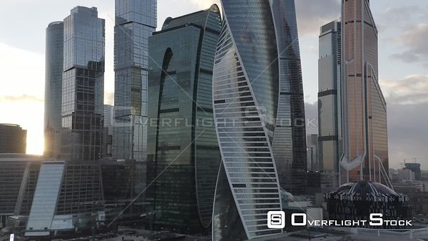 Sunset Sideway Flight by MBCC Passing Skyscraper. Moscow Russia Drone Video View