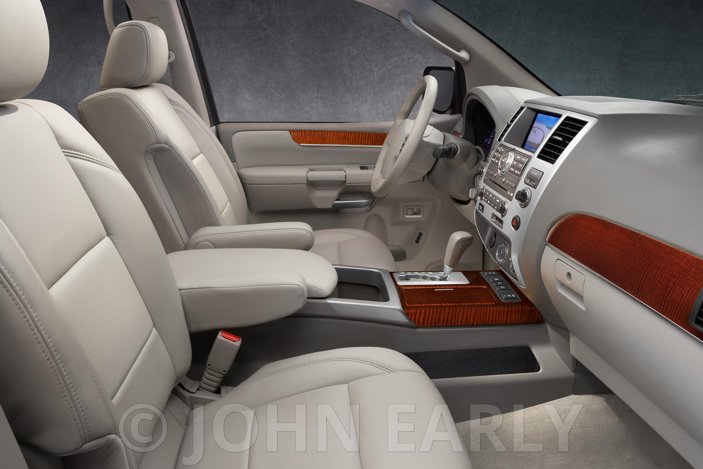 SUV Interior Wheat Leather Dark Wood trim