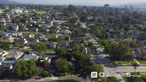 Residential Street and Homes Drone Aerial View in Burbank California