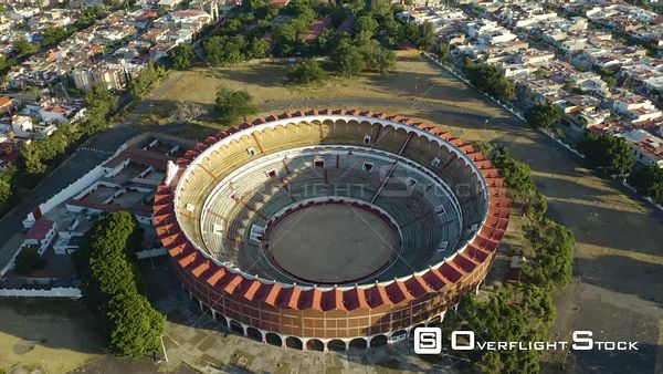 Bullfighting Stadium Mexico Drone Aerial View