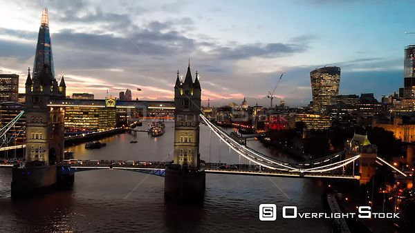 Tower Bridge, filmed by drone in autumn, at dusk, London, United Kingdom