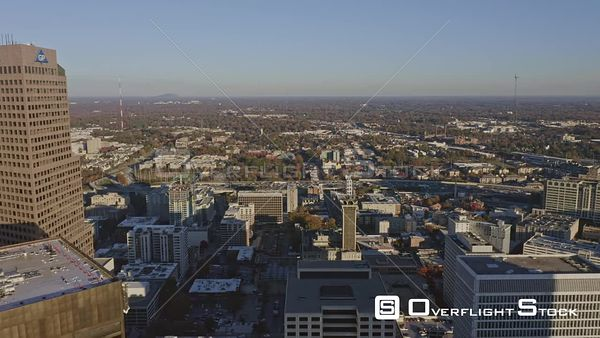 Atlanta Flying over Downtown cityscape toward Sweet Auburn