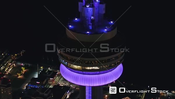 Toronto Ontario Nighttime birdseye panoramic detail of CN Tower with people