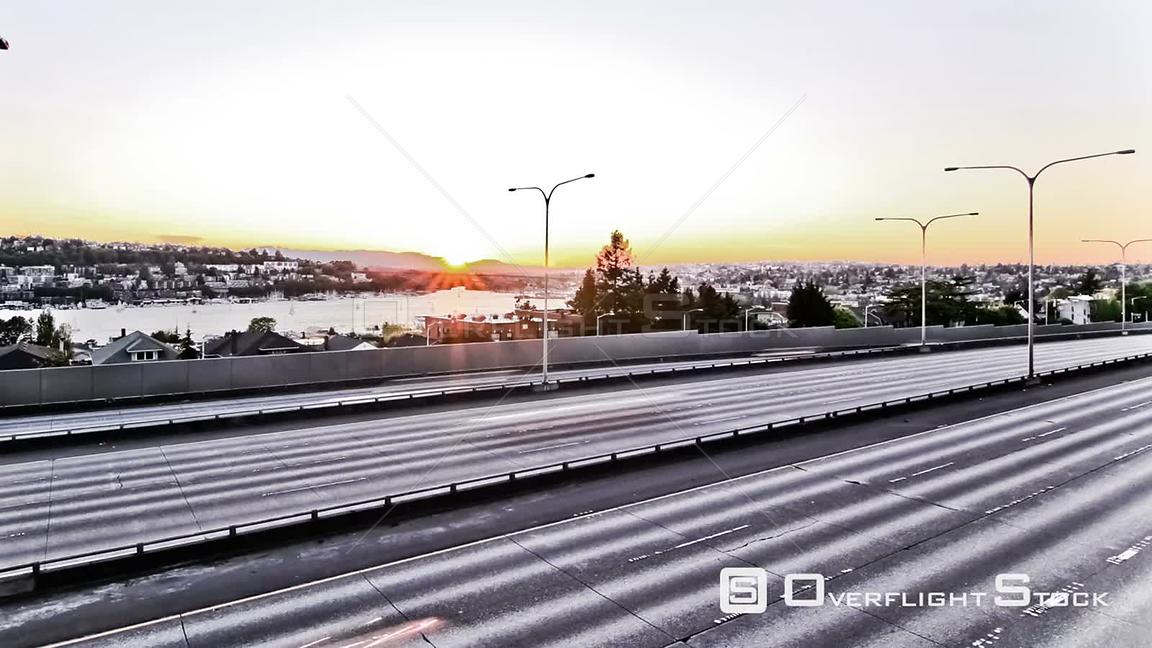 Seattle Washington State USA Seattle I5 traffic time lapse clip using a cartoon like video effect.