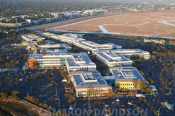 Aerial photograph of the Facebook Campus in Menlo Park, California