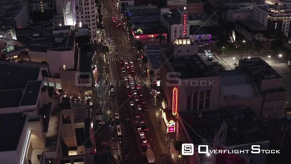 Night Drone Video of Hollywood Blvd Theaters and Night Life California