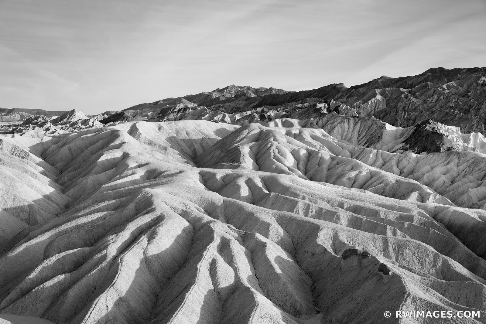 ZABRISKIE POINT BADLANDS DEATH VALLEY CALIFORNIA AMERICAN SOUTHWEST BLACK AND WHITE DESERT LANDSCAPE