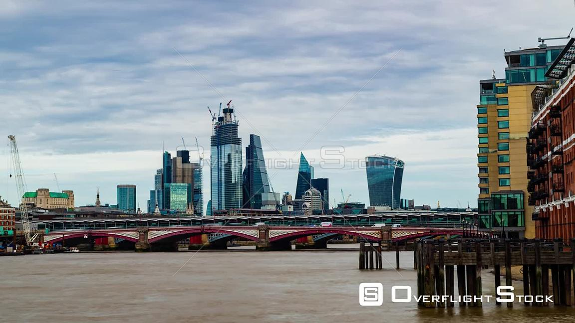 Timelapse view of the skyline of the City of London and St Paul cathedral across the river Thames