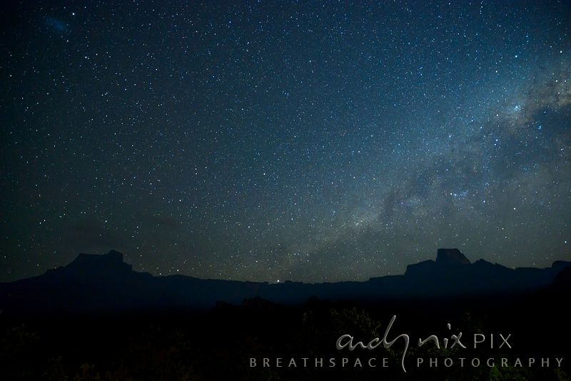 Night view of stars over of the Amphiteatre escarpment mountains and foothills