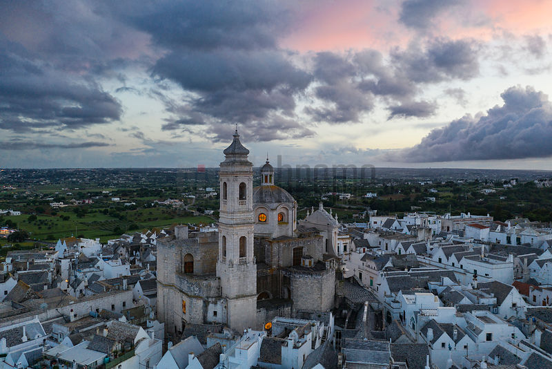 Elevated View of the Old City of Locorotondo at Dusk