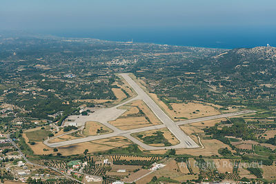 Aerial Image of the Military Air Base of Rhodes Maritsa Greece