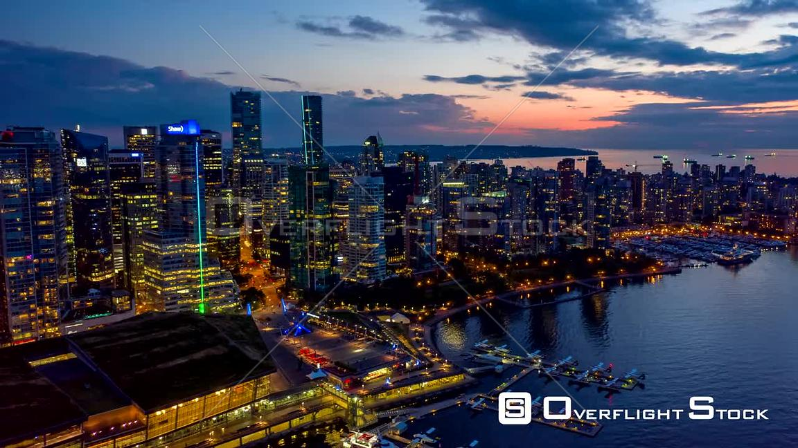 Vancouver BC Canada Vancouver skyline cityscape hyperlapse at dusk