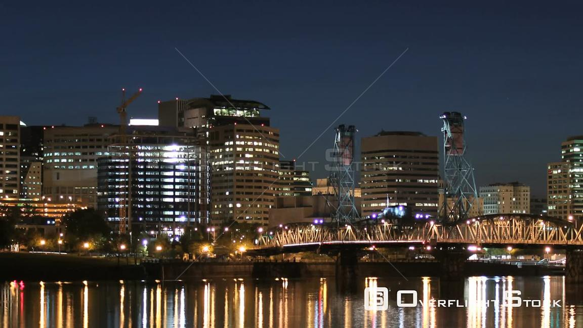 Portland Oregon USA Zooming Portland cityscape time lapse at dusk into night