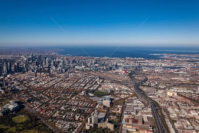 Aerial view with West Melbourne, Melbourne CDB and the Citylink Toll Road in view.  Melbourne, Australia.