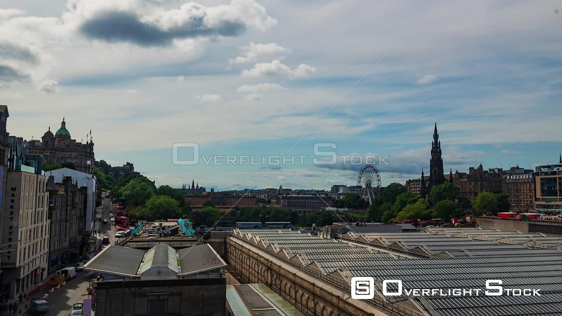 Timelapse View of the Centre of Edinburgh Scotland from North Bridge