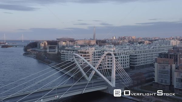 Sunrise Straight Flying Over New Bridge Overlooking Skyscraper Lahta Center and Zenit Stadium. Saint Petersburg Russia Drone ...