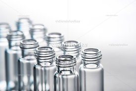 Vials for biological sample on white background.