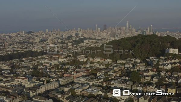 San Francisco Looking northeast flying in reverse with Japantown, Cathedral to HaightAshbury cityscapes
