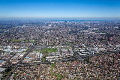 Aerial view of Resevoir with the MElbourne CBD in the backfround and Thomastown in the foreground.