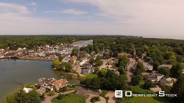 Flying low over Kennebunkport panning. Maine