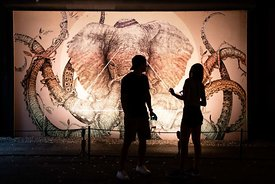 "Alex Diaz's ""Octophant"" with young couple in silhouette"