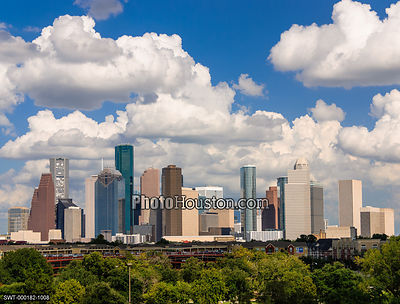 Houston skyline with drifting clouds