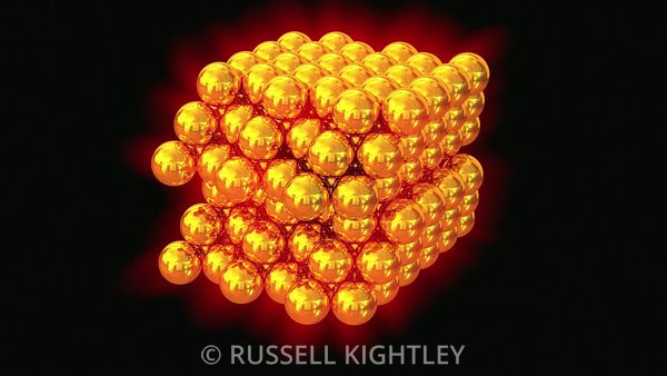 Glowing Gold Atoms