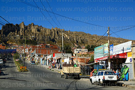 View looking towards rock formations of Valle de las Animas from Chasquipampa, La Paz, Bolivia