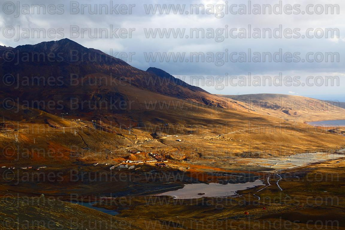 View over Milluni towards altiplano on a stormy afternoon, Cordillera Real, Bolivia