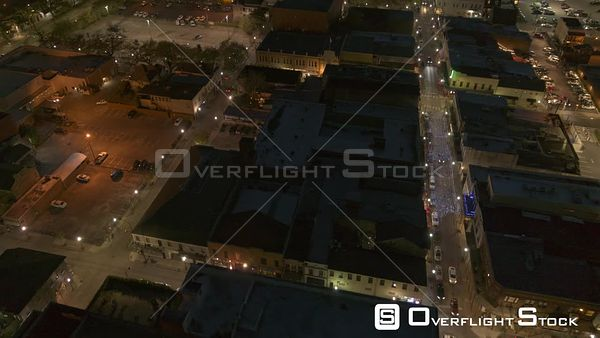 Mobile Alabama Birdseye view flying around Dauphin street area, panning up to reveal downtown cityscape and river  DJI Inspir...