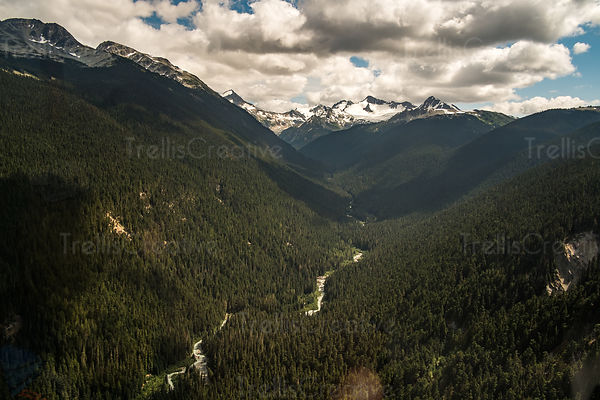 Aerial view of Blackcomb Mountain and the river below, Whistler, Canada.