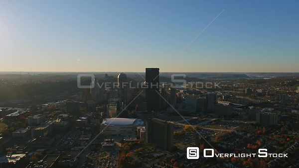 Pittsburgh Pennsylvania Short downtown cityscape ascending approach