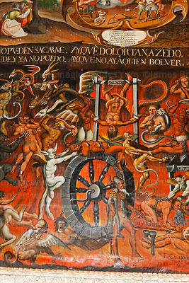 Detail of mural depicting hell inside San Antonio Abad church, Caquiaviri, La Paz Department, Bolivia