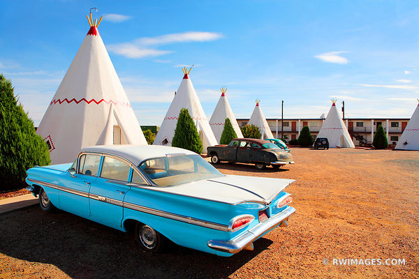 BLUE CHEVY AND THE WIGWAM MOTEL ROUTE 66 ARIZONA COLOR