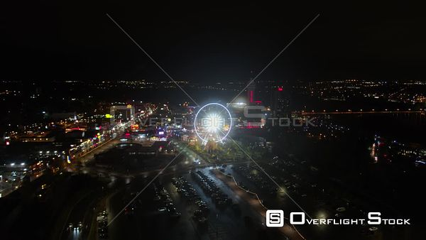 Niagara Falls Ontario Nighttime panning cityscape view to birdseye with Fall views
