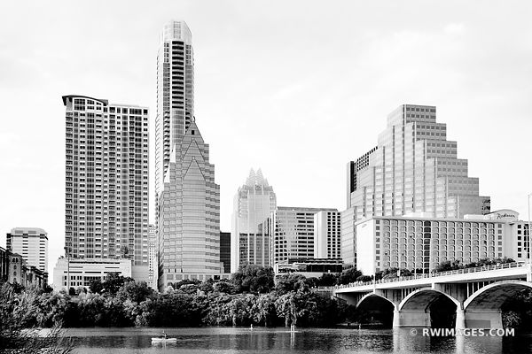 AUSTIN LAKE AND AUSTIN TEXAS SKYLINE BLACK AND WHITE