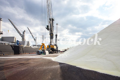 Salt is Unloaded from a Bulk Freight Ship