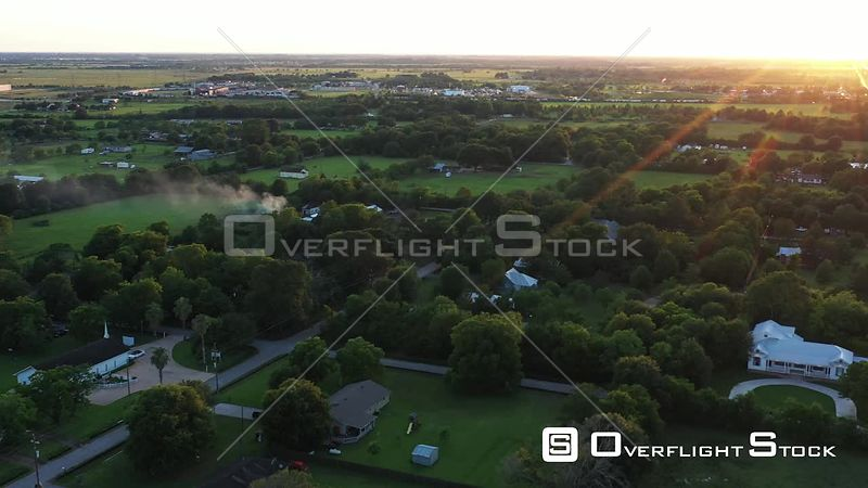 Sunset Lens Flare over a Small Town, Hockley, Texas, USA