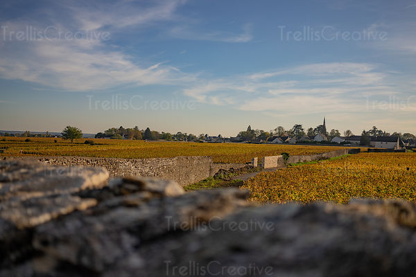 Looking over an old stone wall at the vineyard clos and small French town in the background