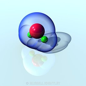 Water Molecule on Reflective Surface