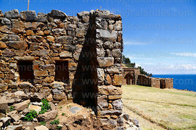 Niches in room of south wall of Inca temple of Iñak Uyu, Moon Island, Lake Titicaca, Bolivia