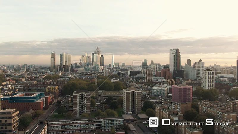 Skyline of the City and Central London from the North England