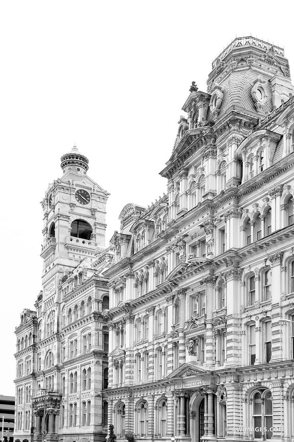 THE MITCHELL BUILDING DOWNTOWN MILWAUKEE WISCONSIN HISTORIC ARCHITECTURE LANDMARK BLACK AND WHITE VERTICAL